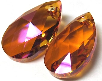 Crystal Glass Teardrop Astral Pink  28 x 17mm Faceted Pear Pendants - 2 Pieces