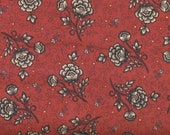 Black and Cream Floral on Dark Red Background 100% Cotton Quilt Fabric from Kim Diehl's Helping Hands Collection, HEG6874-88