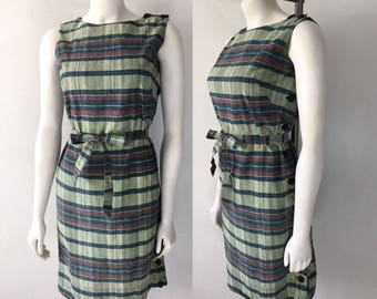 Vintage 50s 60s Plaid Shift Dress India Madras Authentic Hand Woven