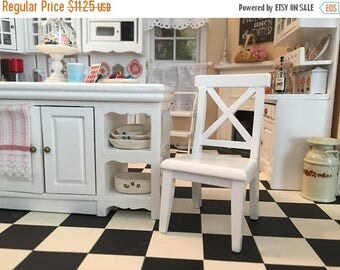 SALE Miniature Chair, Cross Buck White Kitchen Chair, Dollhouse Miniature Furniture, 1:12 Scale, Mini Chair, Dollhouse Chair