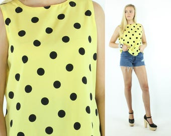 Vintage 90s Polka Dot Blouse Sleeveless Top Yellow Black Shirt Camisole 1990s Large L Yves St. Clair