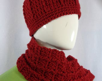 Dark Maroon Scarf and Hat, Crochet Cap and Fringe Scarf Set, Christmas Present, Gift for Mom, MADE TO ORDER  Women Ribbed Hat and Scarf Set