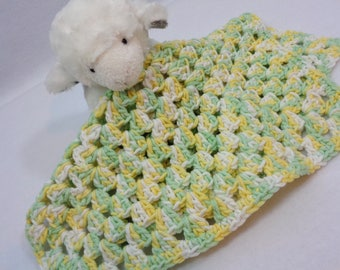 Crochet Baby Doll Blanket or Snuggie in Green, Yellow and White or Table Trivet, Doll House Doll Blanket, Soft Granny Square Baby Gift