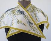 "40s 50s VERA Wingtip Scarf - Green Gray Blue Botanical Silk Scarf by Vera Neumann - 16"""