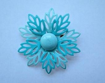Vintage Blue Flower Brooch - Midcentury Costume Jewelry Pin - Enamel Pin