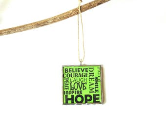Christmas ornament, Inspirational words, positive influence, hope love believe encouragement, lime green, wall art, typography word art