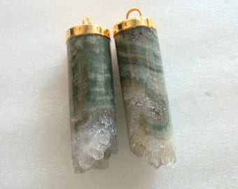 One Pair Amethyst Cylinder Pendant Earrings Pair, Gorgeous Green and Purple, Gold Electroplated, J17