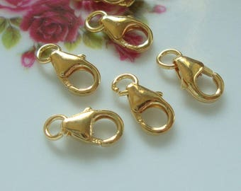 10 pcs, 5x11mm, 18k Gold on 925 Sterling Silver Oval Trigger Clasp with Ring