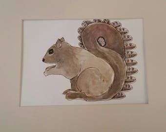 Original mixed media drawing of a squirrel