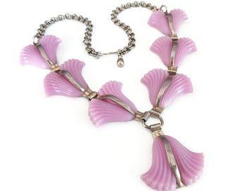 Vintage Purple Tulip Lucite Necklace Silver Tone Metal - Lavender Flowers, 1950s 1960s Jewelry, Vintage Necklace, Vintage Jewelry