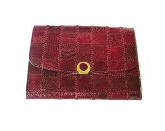 Berma Paris Leather Patchwork Clutch - Snakeskin Style, Mahogany Maroon, Made in France, Vintage Handbag, Vintage Clutch
