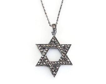 Star of David Sterling Marcasite Pendant, Sterling Silver, Judaism, Judaic, Jewish Symbol, Vintage Necklace, Vintage Jewelry