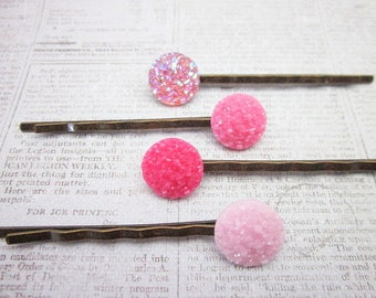 Pink Hair Jewelry -- Set of Pink Pins -- Pink Hair Pin Set -- Pink Button Hair Pin -- Pink Glitter Hair Pins -- Resin Hair Sticks -Druzy Pin