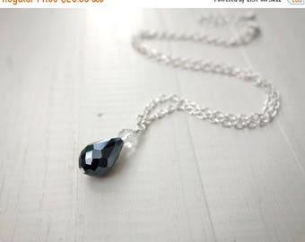 Summer Sale Black drop pendant necklace short chain necklace sparkly pendant necklace minimalist necklace for women