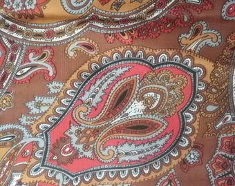 Brown and Orange Paisley Silky Vintage Fabric Yardage