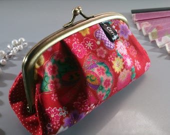 Red pink blue metal frame coin purse - Miya