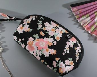 "7"" Cosmetic pouch -  Black pink & orange - Ayami"