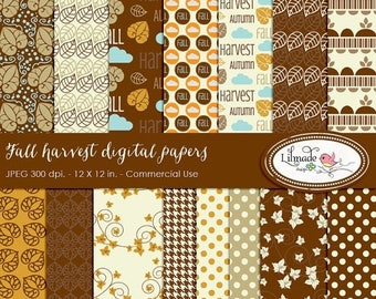 65%OFF SALE Fall harvest digital paper, Fall digital paper, Autumn digital paper, Fall scrapbook paper, commercial use, DP 298
