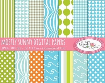 65%OFF SALE Mostly Sunny digital papers, digital scrapbook paper, patterned paper, summer digital papers, P36