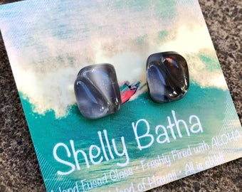 Lava Sterling Silver Earrings Shelly Batha Island Fused Glass Hawaii