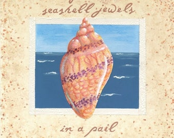 Gather Seashell Jewels original mixed media art