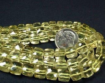 ON SALE Lemon Quartz Beads 3D Cubes Box Beads Faceted Lemon Quartz Cubes Earth Mined Gemstone Graduated Strand - 6 to 8mm - 12 Cubes