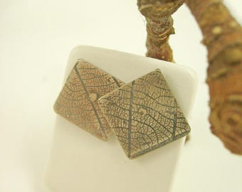 """Silver earrings oxidized, textured """"Vegetable"""" square"""