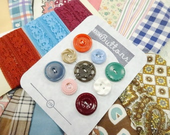 Vintage Old Quilt Top Fabric Piece Panel PLUS Sewing Buttons Notions Lace Seam Binding Trims Lot Project DIY Destash