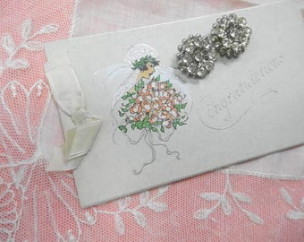 Vintage Art Deco Wedding Bride Keepsakes Lace Hankie Rhinestone Shoe Clips  Gibson Art Card lot