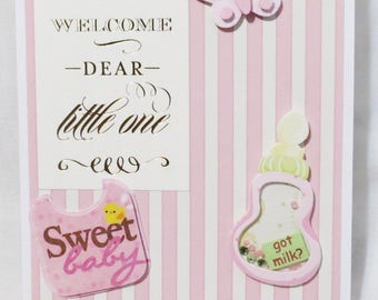 New Baby Girl Handmade Greeting Card, One of a Kind, Pink and White, Got Milk, New Baby, Baby Girl, Bottle and Bib