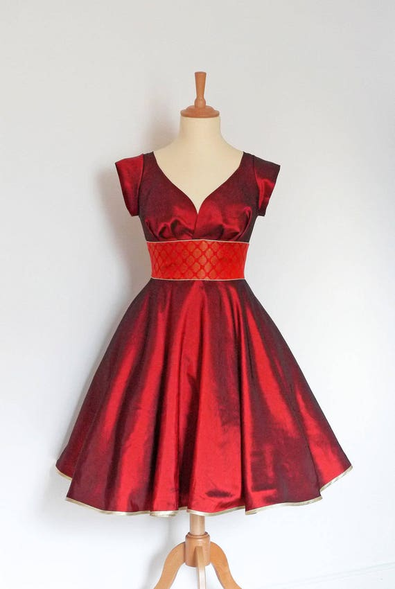 Russet Red Taffeta & Vintage Sari Sweetheart Party Dress by