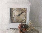 Vintage Wood Mantel Clock.  French Shabby Chic Desk Clock. Painted Altered Oak Vintage Clock. Quartz Battery Clock