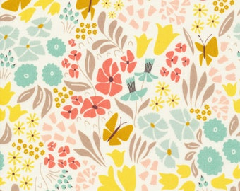 Organic Cotton Quilting Fabric Cloud 9, Park Life, Hyde Park Multicolor, Floral and Butterflies, by Elizabeth Olwen