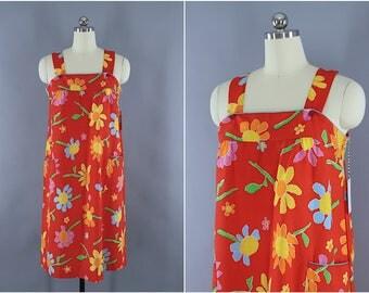 Vintage 1980s Sundress / 80s Floral Day Dress / Pinafore Dress / Red Floral Print