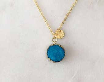 Blue Druzy Necklace - Long - Gold