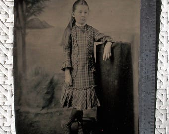 """3.5"""" x 5"""" Tintype  - Little Mabel Wood in Ringlets Wearing Plaid"""