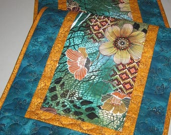 "Quilted Table Runner, Abstract Contemporary Retro Flowers in Rust, Turquoise and Green, 15 x 47"", Reversible"