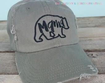 Fall Distressed Mom Hats- Mama Bear