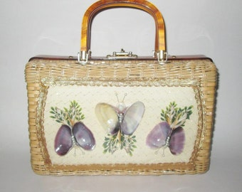 Vintage 1950s 1960s Novelty Handbag / 50s 60s Shell Butterfly Wicker Lucite Handbag Purse By Princess Charming Atlas Hong Kong