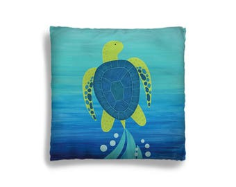 Pillow Cover - Decorative Children's Throw Pillow from Hand Painted Images - Under the Sea Ocean Theme Sea Turtle 16x16 18x18 20x20 or 24x24