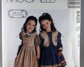 ON SALE McCall's 8426, Girls' Dress, Jumper and Vest Sewing Pattern, Ruffles and Lace Treasured Collection Pattern, Sizes 6, 7, 8, Uncut
