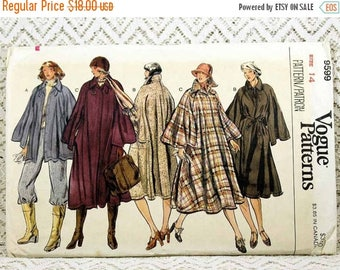 "ON SALE Vogue 9599, Misses' Coat Sewing Pattern, Cape Coat Pattern, Vintage Sewing Pattern, Misses' Size 14, Bust 36"", Uncut"