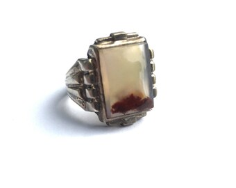 Deco Moss Agate Sterling Men's Ring - sz 9