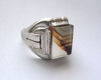 Deco Moss Agate Sterling Men's Ring - Size 8.5