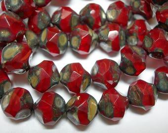 15 9mm Red Opal Travertine Firepolished Thru Cuts Czech Glass Beads