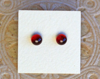 Dichroic Glass Earrings, Petite, Garnet Red  DGE-1228