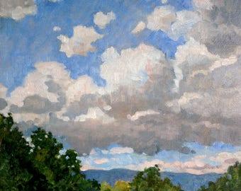 Big Clouds, Berkshires June Sky. American Realist Landscape Painting, 14x14 Plein Air Impressionist Oil on Panel, Signed Original Fine Art