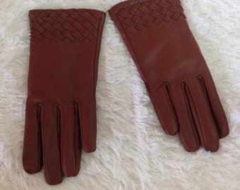 Vintage 80s Brown Goatskin Leather Driving Gloves Ladies SMall Medium