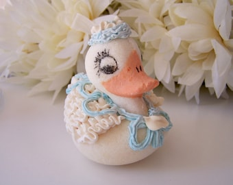 Vintage Sugar Duck Figure for Easter Decorated with Frosting Curls