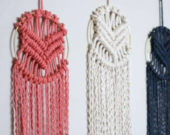 Indigo Macrame Wall Hanging in Gold Ring   Other Colors Available